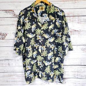 Pusser's silk coconut buttons Hawaiian shirt vtg